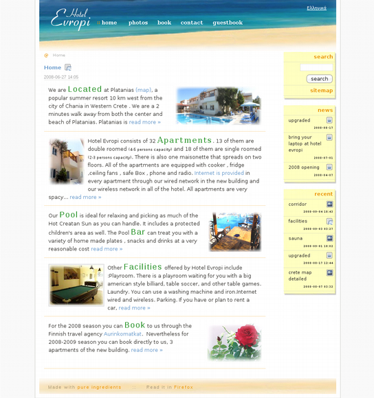 Hotelevropi.com is hotel evropi's web presence. Built on madpy also includes a captcha protected gue...